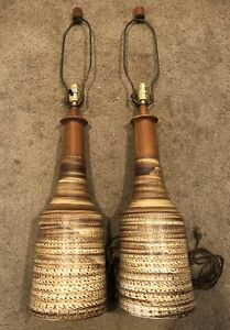 Mid Century Signed Martz Pottery Lamps Set Of 2