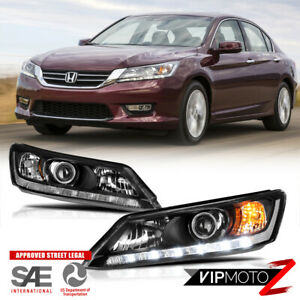 13 15 Honda Accord Led Drl Model Black Factory Style Replacement Headlight L R