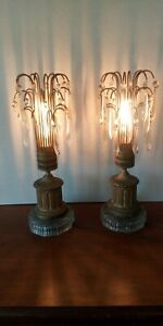 Vintage Pair Prism Glass Table Lamps Hollywood Regency Antique Gold Mid Century