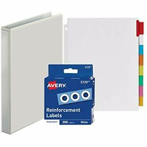 3 ring Binder 1 Inch With Big Tab Insertable Extra Wide Dividers 8 Multicolor