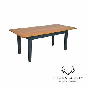 Antique Country Pine 2 Drawer Painted Base Farmhouse Dining Table