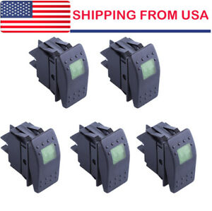 5pcs Waterproof Marine Boat Car Rocker Switch 12v On off 4pin Green Led Light