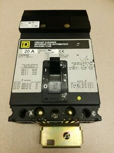 Fa36020 Square D 20 Amp I line 3 Pole 600 Volt Plug in Circuit Breaker