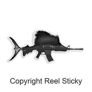 Sailfish Ar15 Sticker Marlin Sail Fish Fishing Rifle Gun Boat Car Window Decal