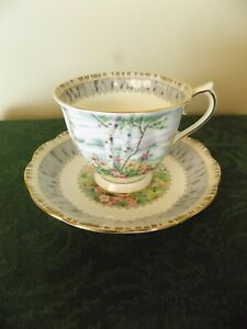 Royal Albert Tea Cup Saucer Silver Birch Teacup Coffee Free Shipping