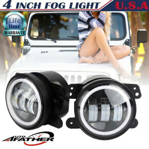 Pair 4 Inch 60w Led Driving Fog Light For Jeep Jk Dodge Charger Magrum Journey