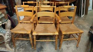6 Solid Maple Dining Chairs Henkel Harris 1963 Rush Seats Very Nice