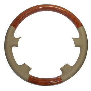 Tan Leather Wood Steering Wheel Cover Trim For 03 09 4runner Sequoia Gs Lx470