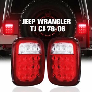 Pair Led Tail Lights Rear Brake Lamps Turn Stop Reverse For Jeep Wrangler Tj Cj
