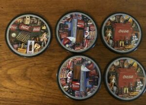 Set of 5 COCA COLA Coasters with Vending Machines & Memorabilia Designs - RARE