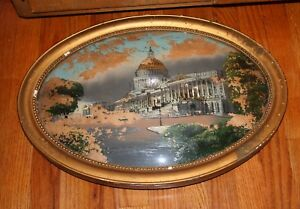 Antique Reverse Painting Convex Glass Frame 22x16 As Is