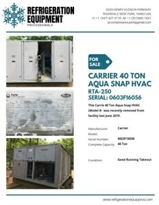 Carrier Model 40 Ton Aqua Snap On Sale Chillers