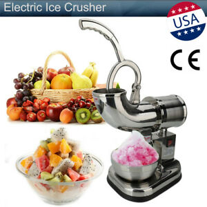 200kg h Commercial Electric Ice Crusher Dual Blade Ice Shaving Machine Snow Cone