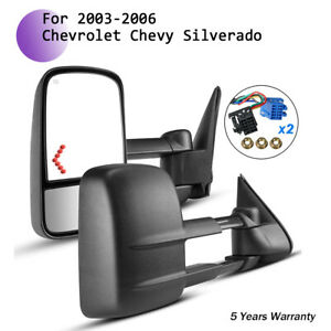 L R Side View Towing Mirror Arrow Signal Power Heated For 03 07 Chevy Gmc