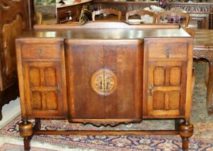 English Antique Oak Art Deco Sideboard Buffet Wine Bar 4 Doors 2 Drawers