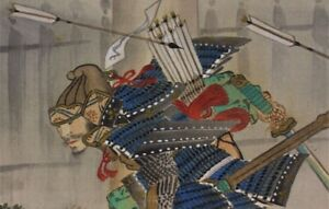 Hanging Scroll Japanese Painting Japan Samurai Bushi Antique War Art 096m