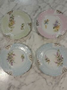 Vintage Shabby Chic Plates Set Of 4 Small 6 Floral Cottage Decor Cute Wall Nice