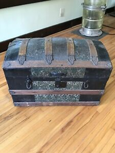 Antique Steamer Truck With Removable Tray Wood And Metal Vintage Details