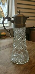 Vintage Cut Glass Decanter Pitcher With Silver Top Center Ice Chamber For Tea
