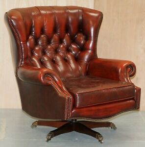 Harrods London Oversized Oxblood Leather Wingback Library Office Reading Chair