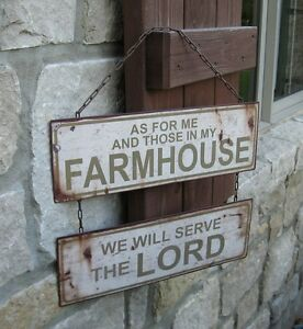 Farmhouse Hanging Metal Sign Primitive French Country Kitchen Christian Decor
