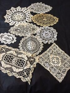 Vtg Bobbin Lace Doilies Needle Lace Lot Of 9 Pcs Ivory Antique Table Linens
