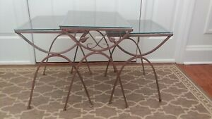 Vintage Patio Nesting Side Tables Wrought Iron And Glass Mid Century