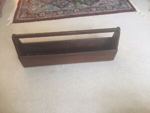 Antique Wooden Primitive Large Carpenter S Carrying Tote Caddy Tool Box