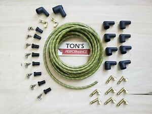 8mm Rajah Ends Cloth Covered Spark Plug Wire Kit Vintage Wires V8 Green Yellow