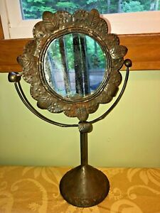 Rare Antique Tin Flower Leaves Make Up Vanity Swivel Table Top Mirror Vintage