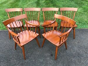 Handsome Solid Mid Century Modern Cherry Windsor Chairs Set Of 6 Mccobb Style