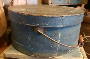 Wonderful Early Antique Old Blue Painted Pantry Box W Bail Handle