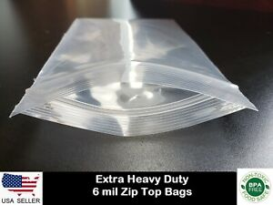 Extra Thick 6 mil Zip Top Heavy duty Reclosable Plastic Zipper Lock Seal Bags