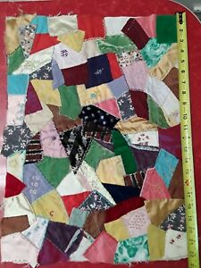 Antique 1800 S Crazy Quilt Piece Embroidered Unfinished Rectangle 22x16