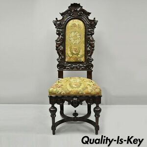 Antique Italian Renaissance Carved Walnut Cherubs And Angels Figural Chair