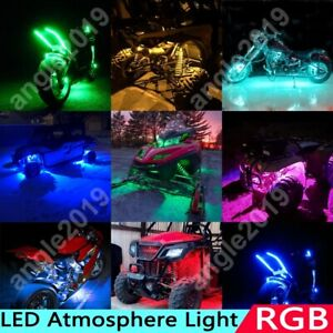 Rgb Color Remote Motorcycle Flexible Led Neon Under Glow Lights Strip Kit