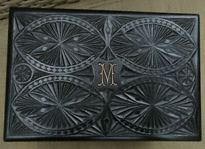 Victorian Jewelry Sewing Box Mourning Carved Silver Wooden Initial M