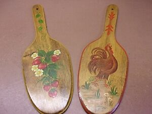 Two Primitive Hand Painted Wooden Paddles Strawberries Rooster Excellent Work