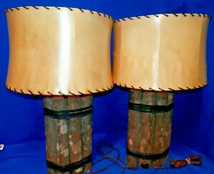 Pair Of Old Hickory Mini Wood Logs Table Lamp Cabin Rustic Style 29 Rare
