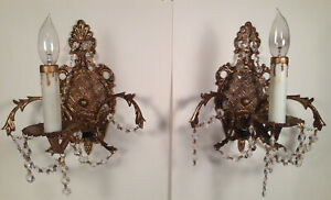 Vintage Antique Pair Spanish Brass Wall Sconces Hollywood Regency Crystals