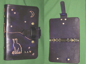 Compact 0 75 Night Cat Purple Leather Binder Cordwain Higgler Planner Oberon