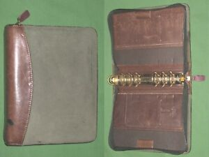 Compact 1 25 Green Suede Brown Leather Franklin Covey Quest Planner Binder