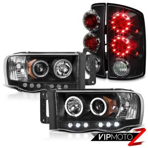 2002 2005 Dodge Ram Pickup Black Halo Led Projector Headlights Tail Lights Lamps