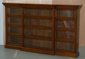 Stunning Library Breakfront Bookcase With Sliding Doors Sideboard Sized Lights