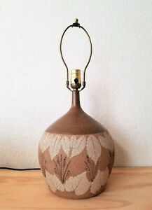 Abstract Danish Modern Pottery Table Lamp Mid Century Denmark Floral Signed