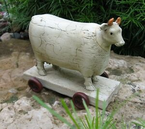 Cow Animal Pull Toy Sculpture Primitive French Country Farmhouse Dairy Decor