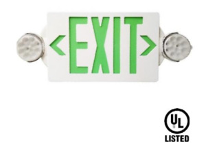 Led Green Exit Sign Emergency Light hi Output Compact Combo Ul Listed