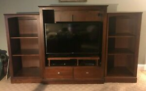 Ethan Allen American Dimensions Sepia Media Coffee End Tables Book Shelves