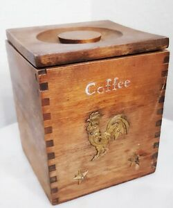 Vintage Country Farmhouse Primitive Wooden Coffee Box Canister Tongue