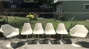 Mid Century Modern Tulip Chairs Lot Of 6 White Knoll Eero Saarinen Style Pick Up